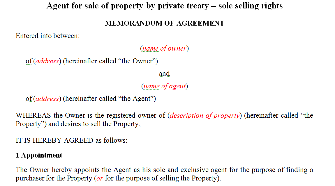 Agent for sale of property by private treaty – sole selling rights